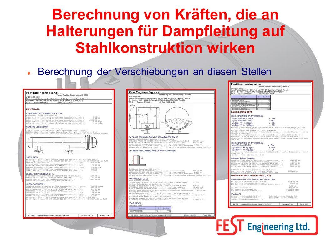 Berechnung von Kräften, die an Halterungen für Dampfleitung auf Stahlkonstruktion wirken