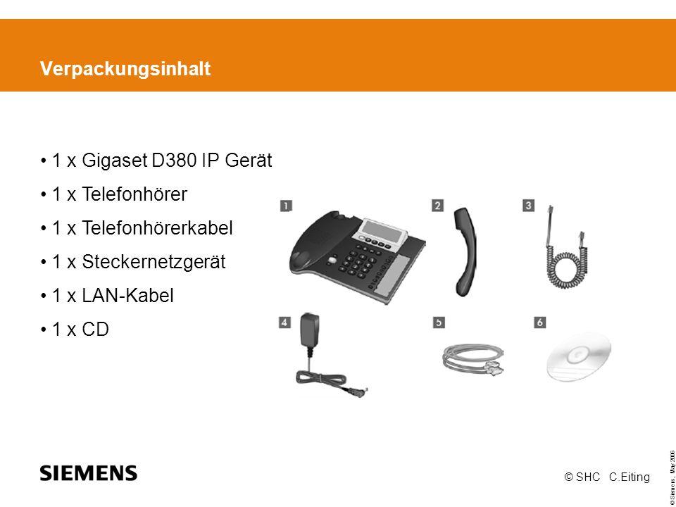 Verpackungsinhalt 1 x Gigaset D380 IP Gerät 1 x Telefonhörer