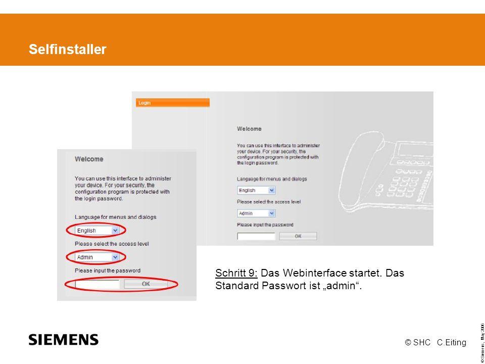Selfinstaller Schritt 9: Das Webinterface startet.
