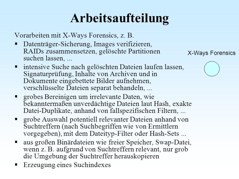 Arbeitsaufteilung Vorarbeiten mit X-Ways Forensics, z. B.