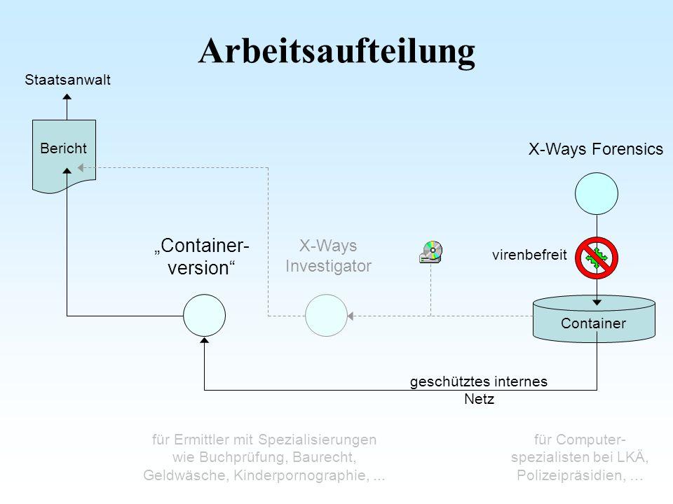 """Arbeitsaufteilung """"Container- version X-Ways Forensics"""