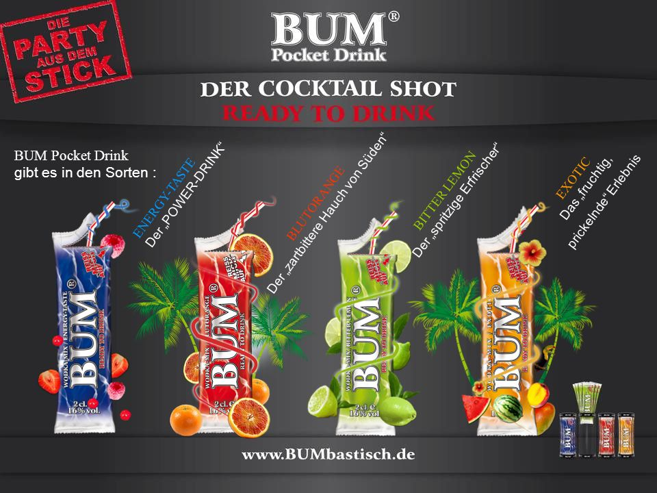BUM Pocket Drink gibt es in den Sorten :