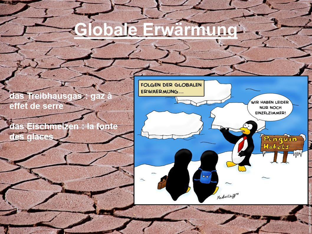 Globale Erwärmung das Treibhausgas : gaz à effet de serre