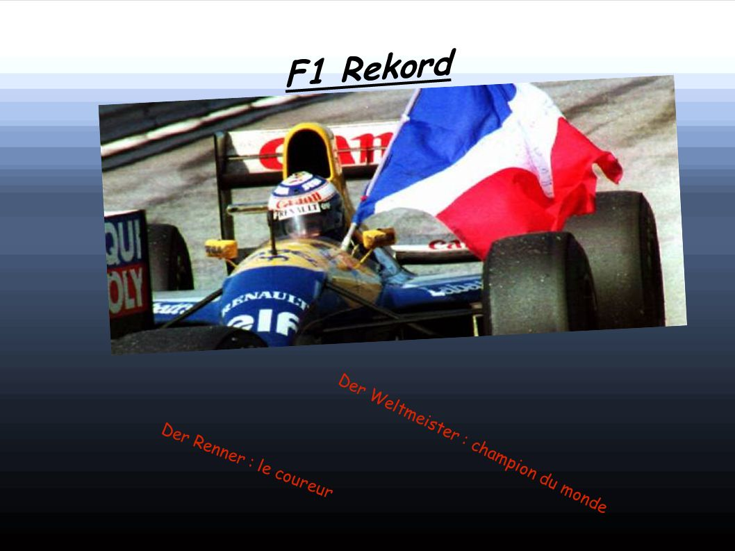 F1 Rekord Der Weltmeister : champion du monde Der Renner : le coureur
