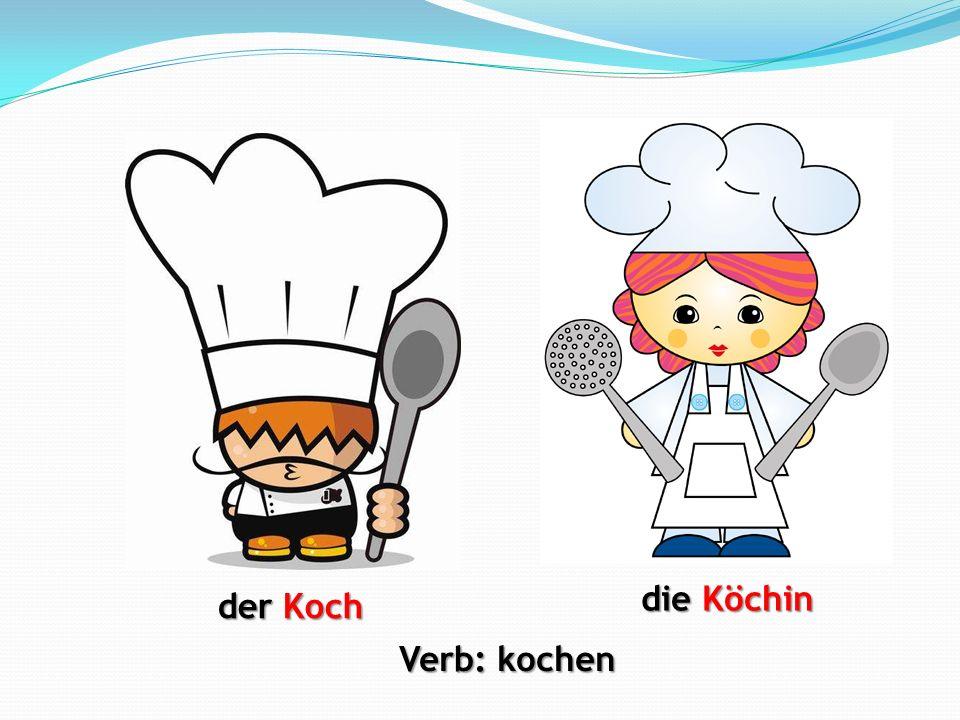 die Köchin der Koch Verb: kochen