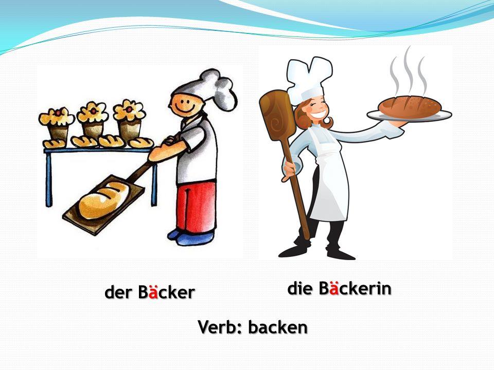 die Bäckerin der Bäcker Verb: backen