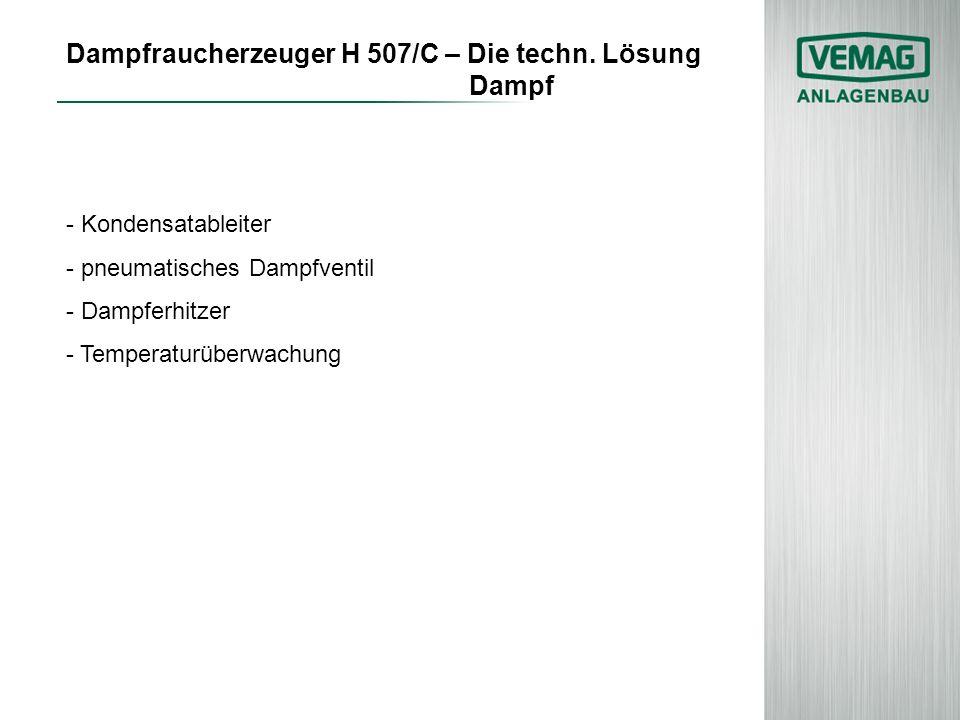 Dampfraucherzeuger H 507/C – Die techn. Lösung Dampf