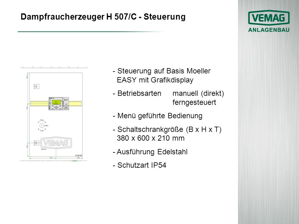Dampfraucherzeuger H 507/C - Steuerung