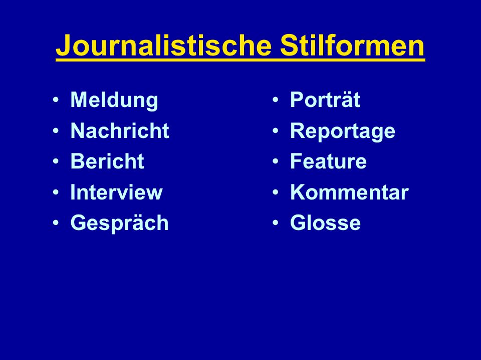 Journalistische Stilformen