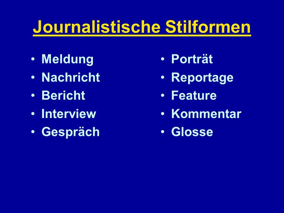 Journalistische Stilformen