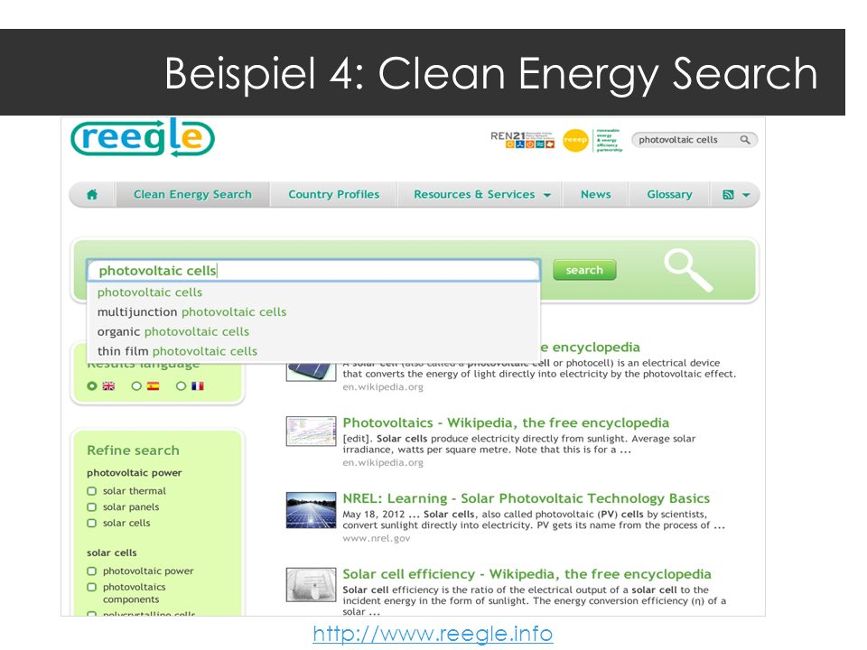 Beispiel 4: Clean Energy Search