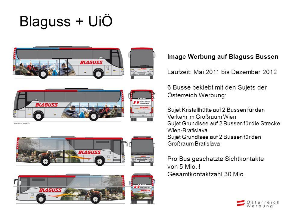 Blaguss + UiÖ Image Werbung auf Blaguss Bussen