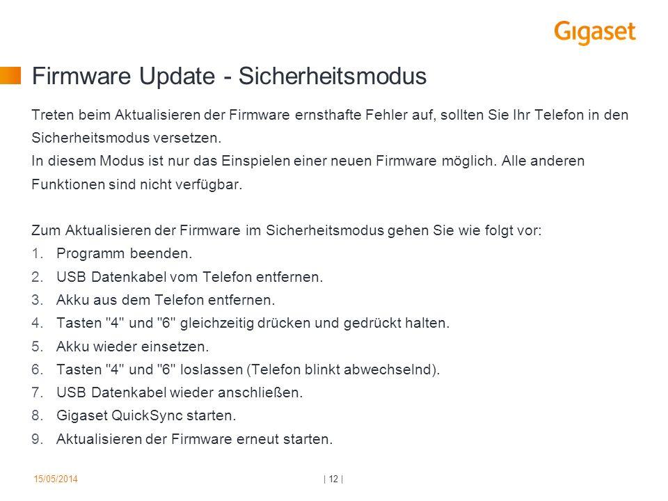 Firmware Update - Sicherheitsmodus