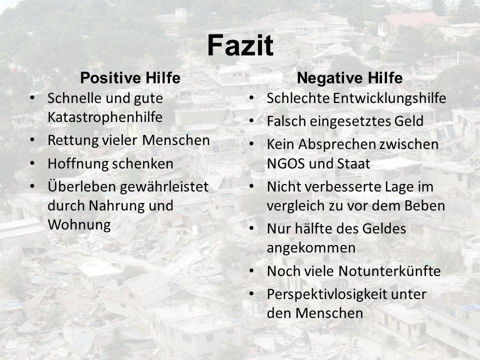 Fazit Positive Hilfe Negative Hilfe