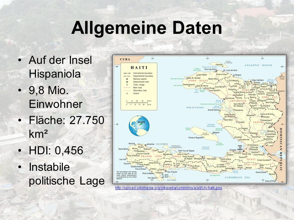 Allgemeine Daten Auf der Insel Hispaniola 9,8 Mio. Einwohner