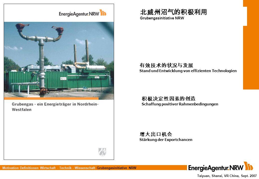 北威州沼气的积极利用 有效技术的状况与发展 积极决定性因素的创造 增大出口机会 Grubengasinitiative NRW