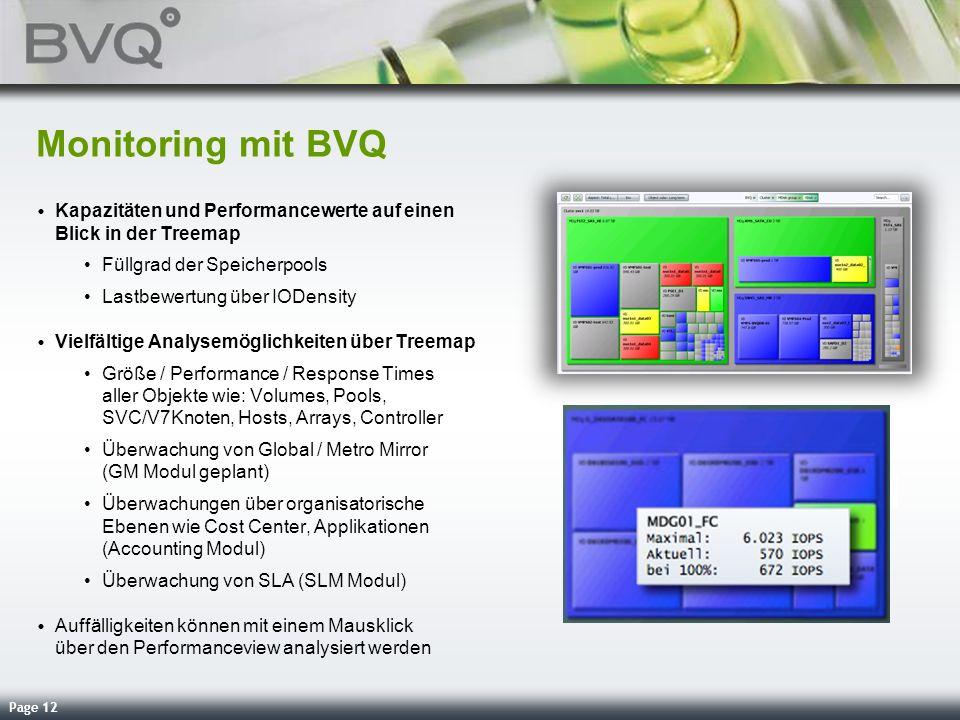 Monitoring mit BVQ Kapazitäten und Performancewerte auf einen Blick in der Treemap. Füllgrad der Speicherpools.