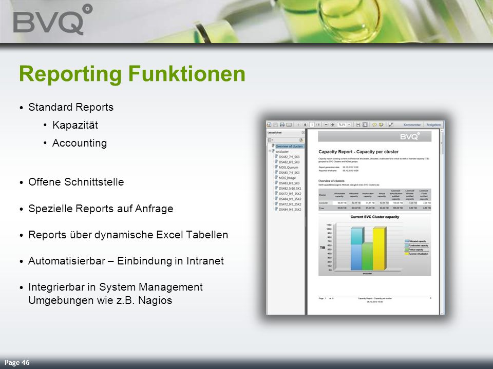 Reporting Funktionen Standard Reports Kapazität Accounting