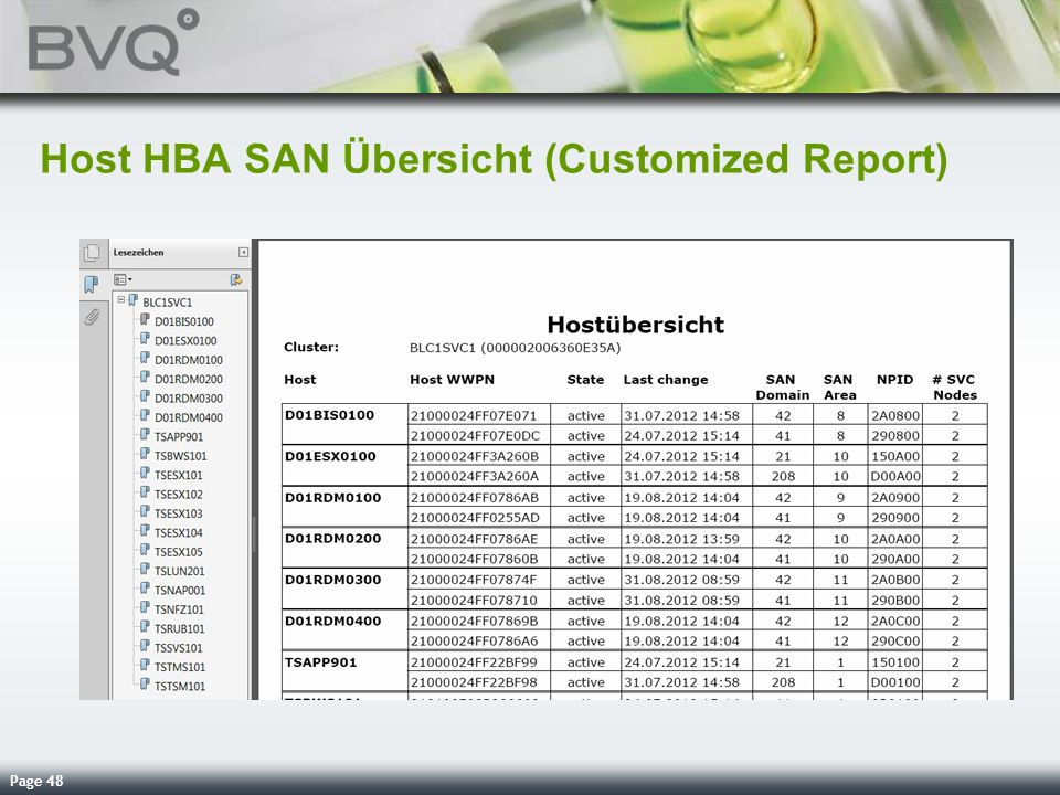 Host HBA SAN Übersicht (Customized Report)