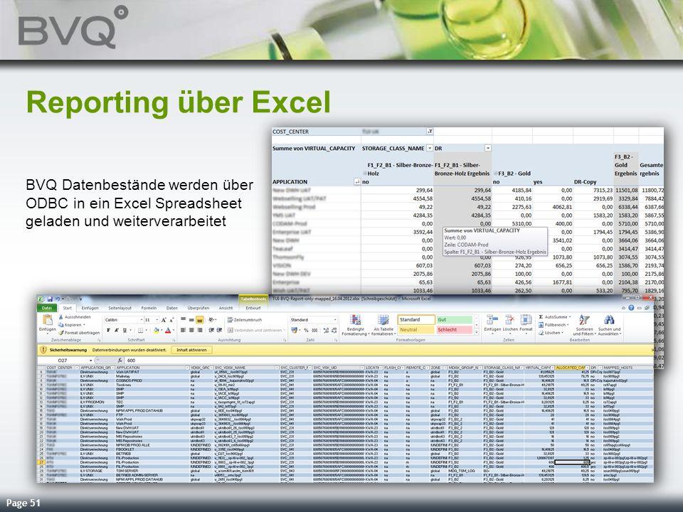 Reporting über Excel BVQ Datenbestände werden über ODBC in ein Excel Spreadsheet geladen und weiterverarbeitet.