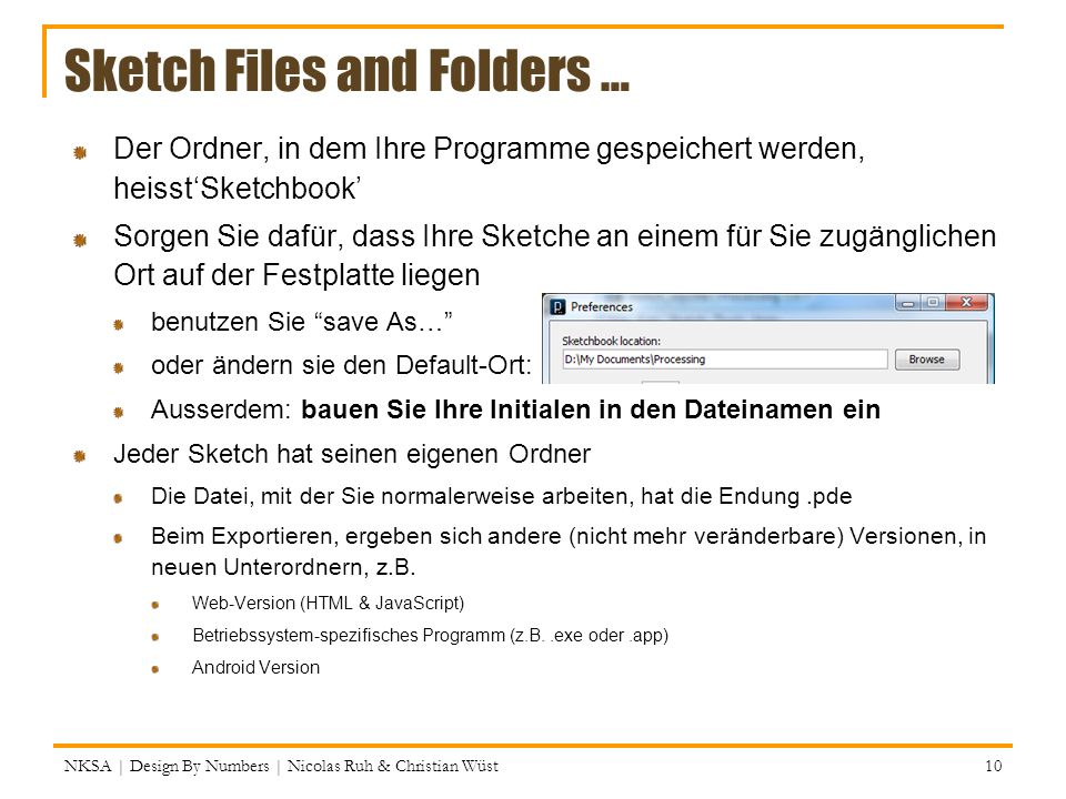 Sketch Files and Folders …