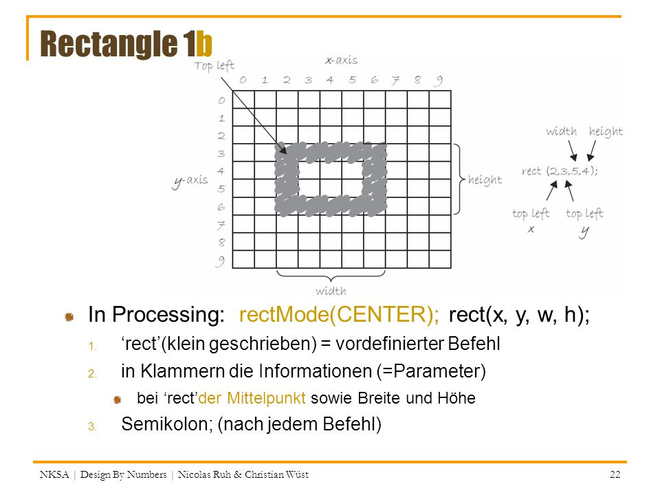 Rectangle 1b In Processing: rectMode(CENTER); rect(x, y, w, h);