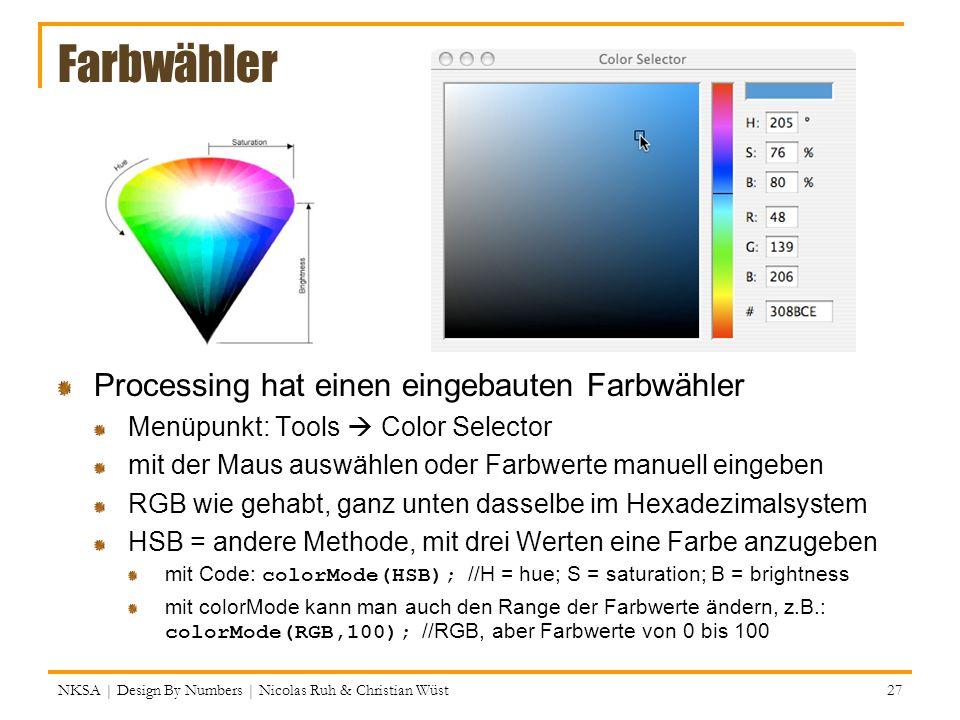 Farbwähler Processing hat einen eingebauten Farbwähler