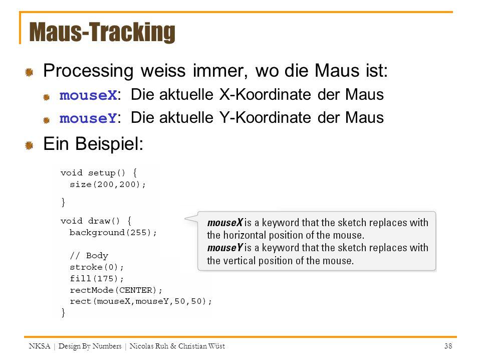 Maus-Tracking Processing weiss immer, wo die Maus ist: Ein Beispiel: