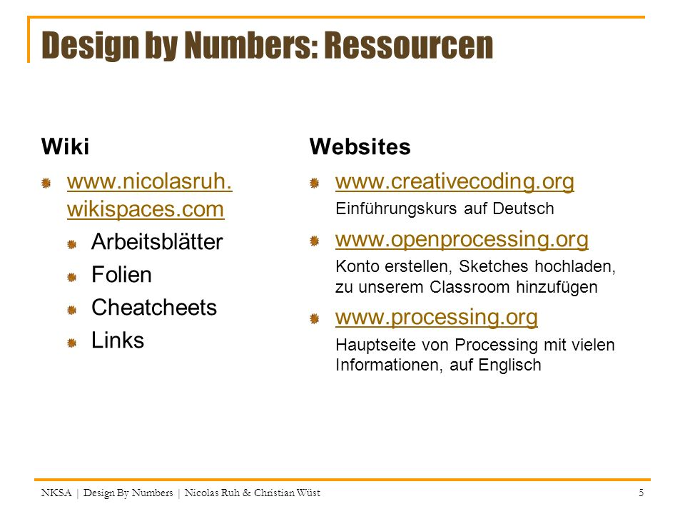Design by Numbers: Ressourcen