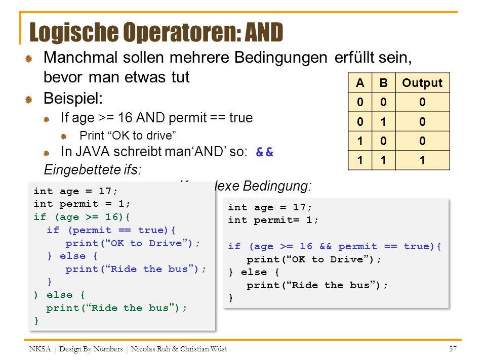 Logische Operatoren: AND