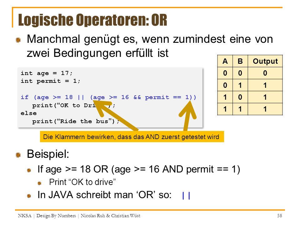 Logische Operatoren: OR