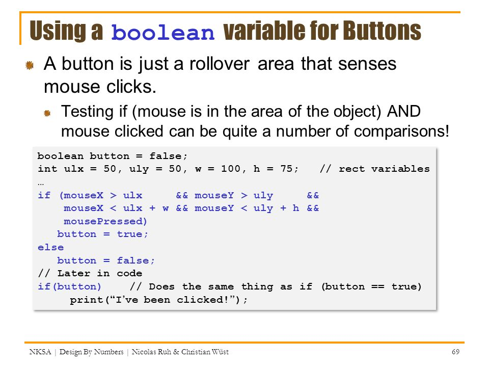 Using a boolean variable for Buttons