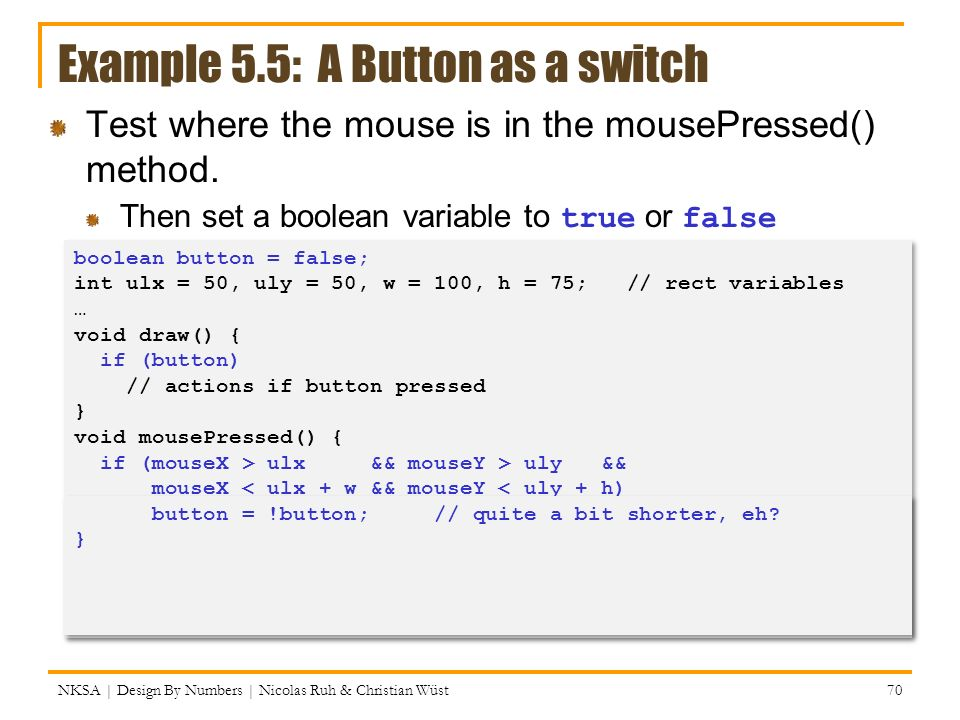 Example 5.5: A Button as a switch
