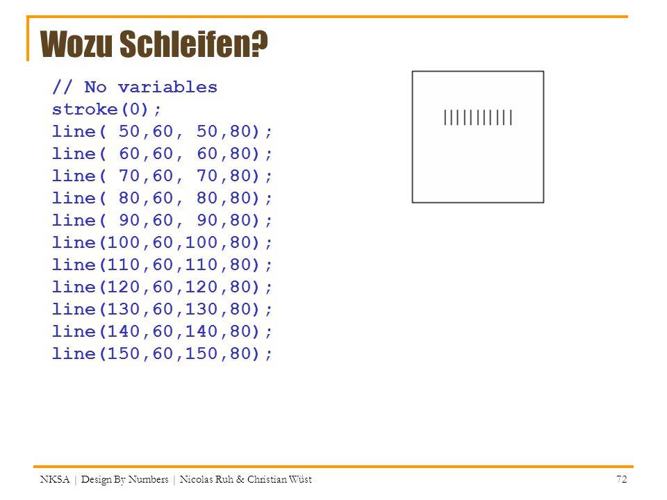 Wozu Schleifen // No variables stroke(0); line( 50,60, 50,80);