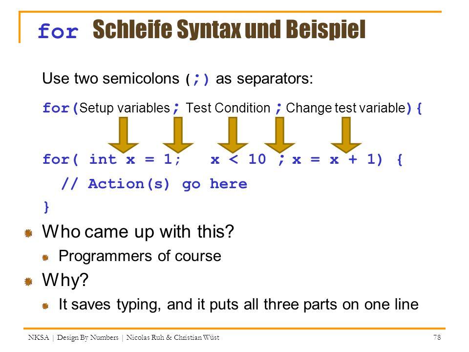 for Schleife Syntax und Beispiel