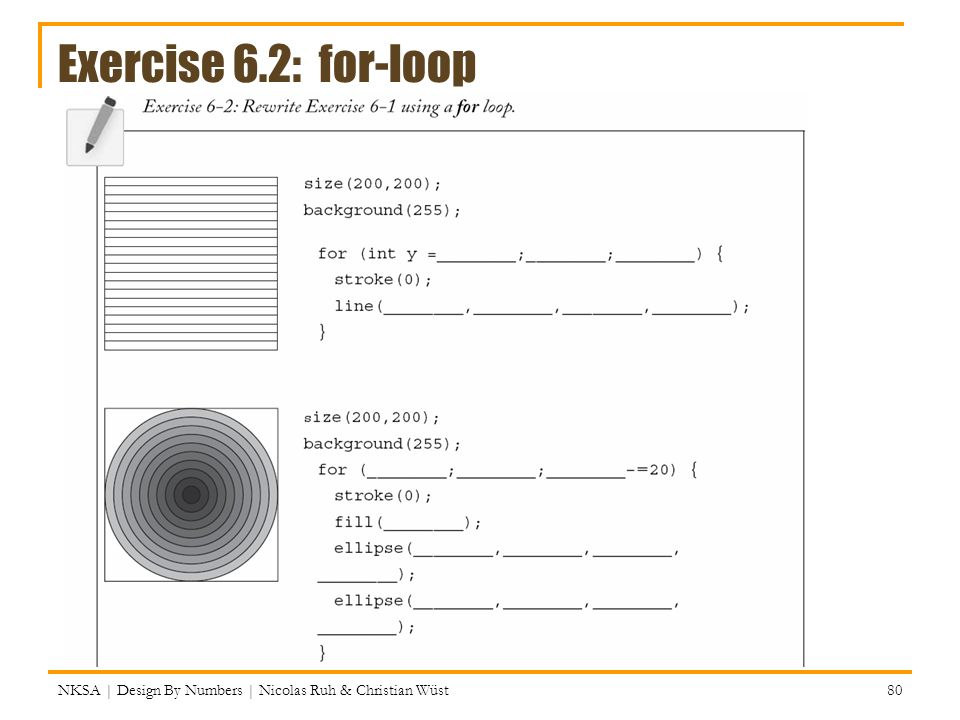 Exercise 6.2: for-loop NKSA | Design By Numbers | Nicolas Ruh & Christian Wüst