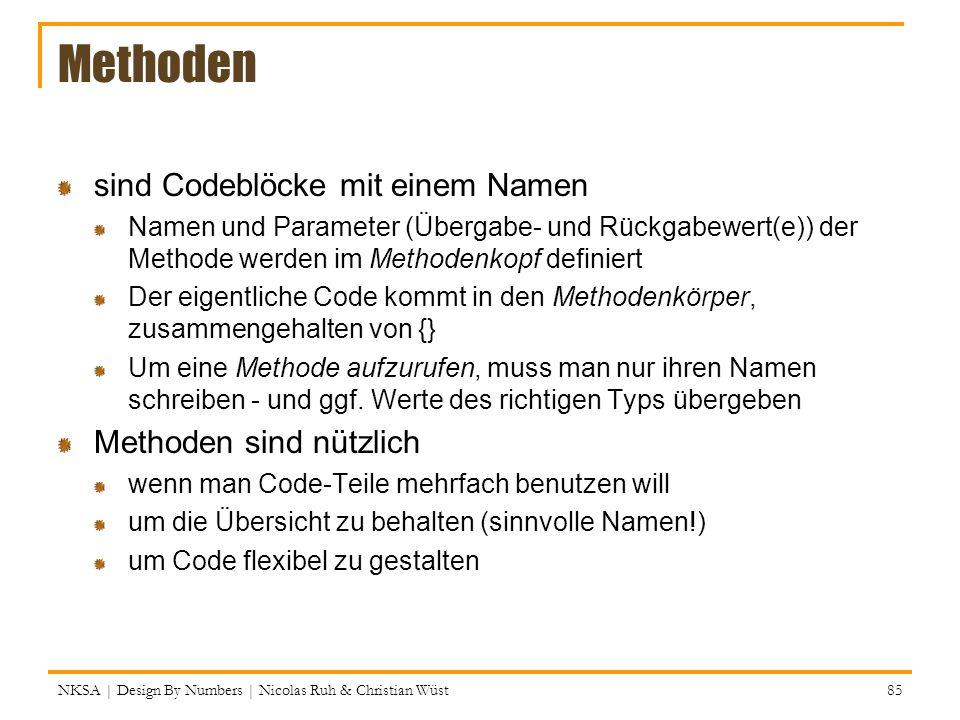 Methoden sind Codeblöcke mit einem Namen Methoden sind nützlich