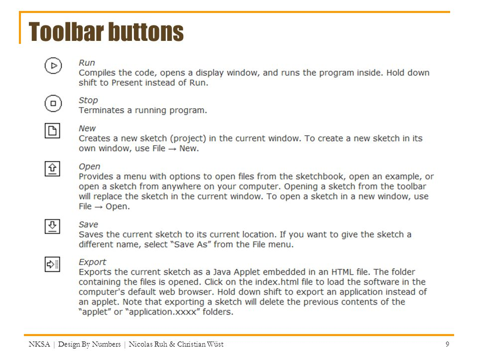 Toolbar buttons NKSA | Design By Numbers | Nicolas Ruh & Christian Wüst