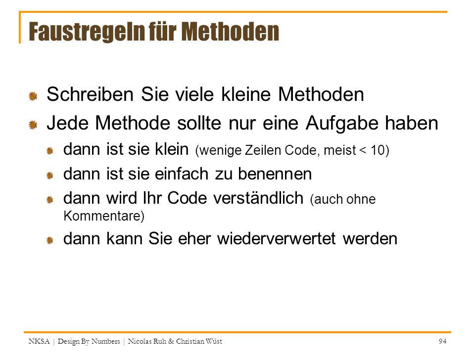 Faustregeln für Methoden