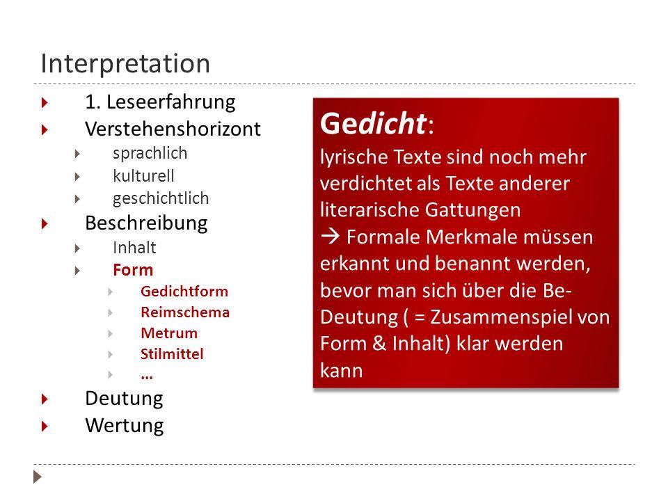 Interpretation 1. Leseerfahrung. Verstehenshorizont. sprachlich. kulturell. geschichtlich. Beschreibung.