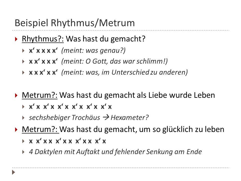 Beispiel Rhythmus/Metrum