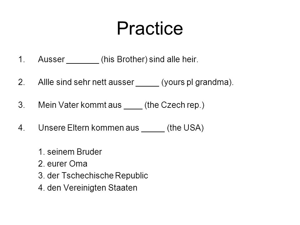 Practice Ausser _______ (his Brother) sind alle heir.