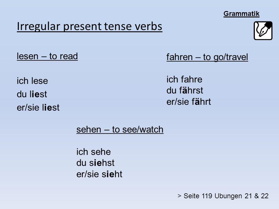 Irregular present tense verbs