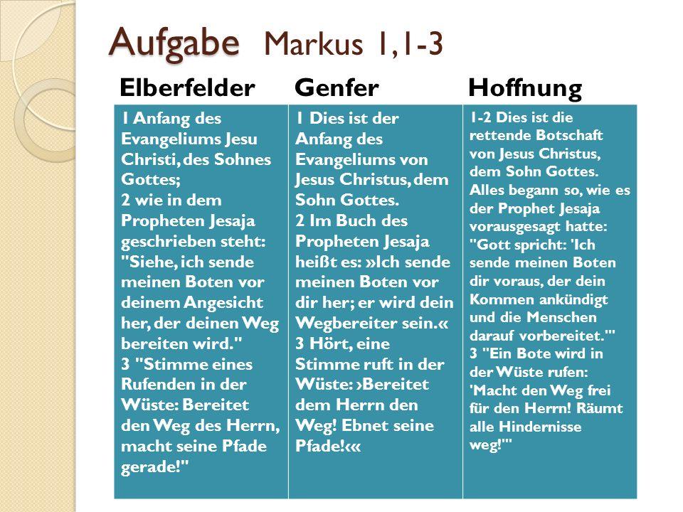 Aufgabe Markus 1,1-3 Elberfelder Genfer Hoffnung