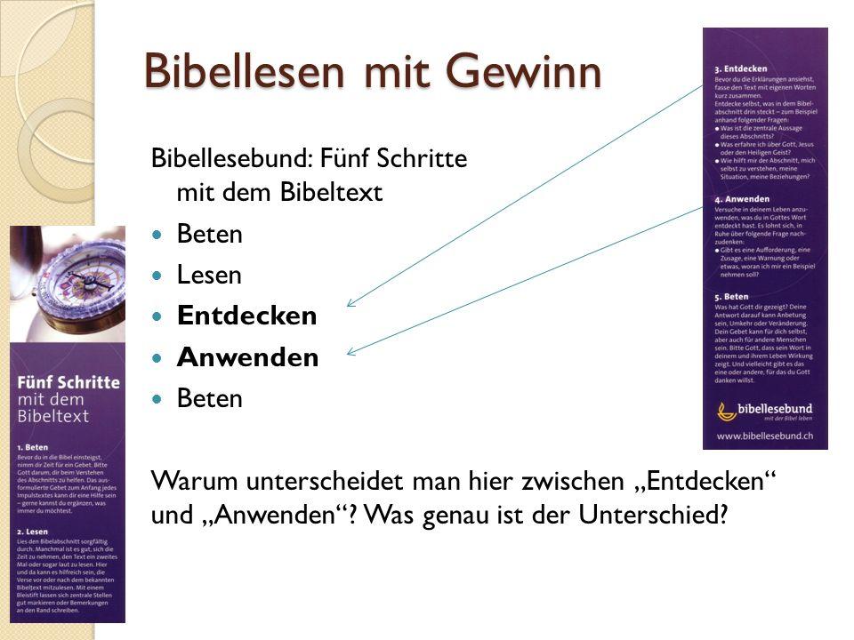 Bibellesen mit Gewinn Bibellesebund: Fünf Schritte mit dem Bibeltext