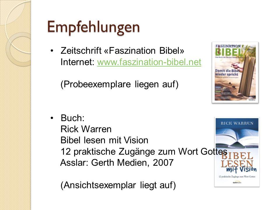 Empfehlungen Zeitschrift «Faszination Bibel»