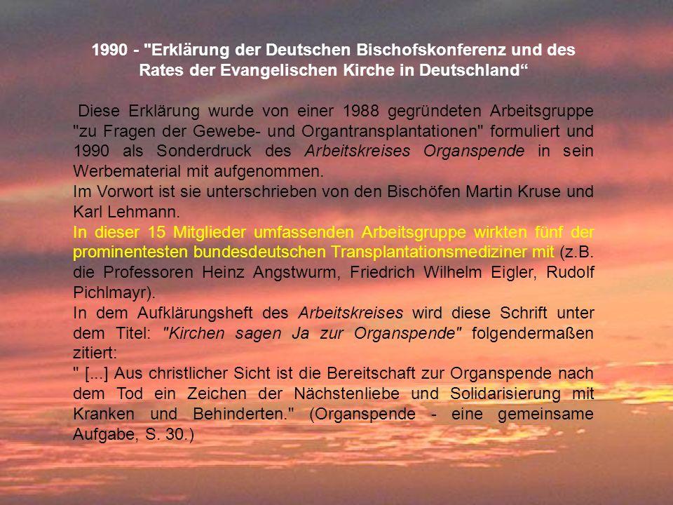 1990 - Erklärung der Deutschen Bischofskonferenz und des Rates der Evangelischen Kirche in Deutschland