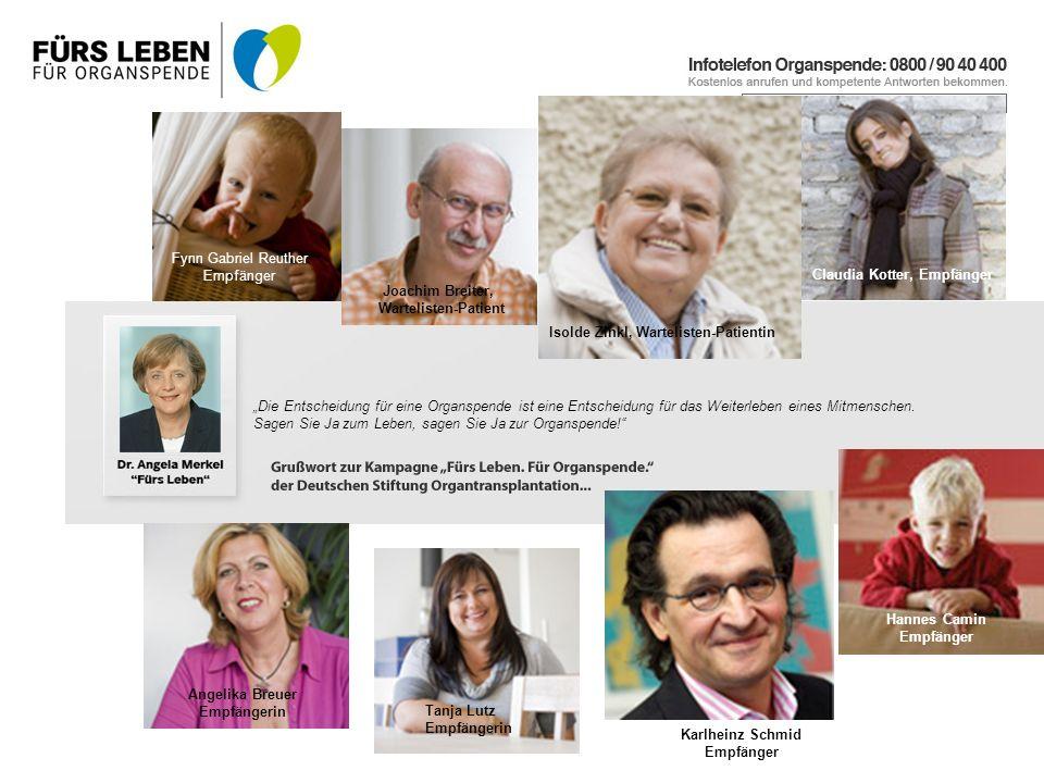 Fynn Gabriel Reuther Empfänger. Claudia Kotter, Empfänger. Joachim Breiter, Wartelisten-Patient.