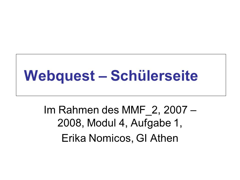 Webquest – Schülerseite
