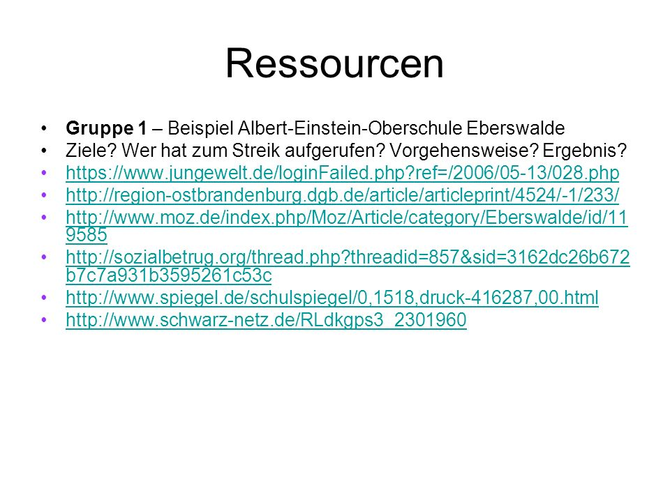 Ressourcen Gruppe 1 – Beispiel Albert-Einstein-Oberschule Eberswalde